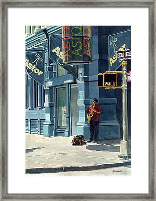 Street Musician Framed Print by Tom Hedderich