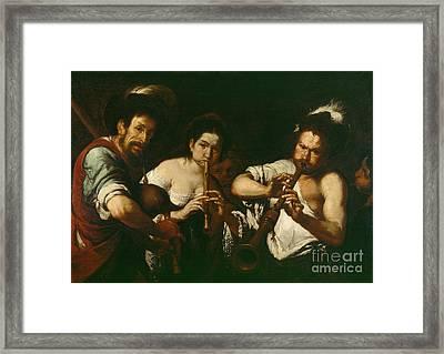 Street Musicians Framed Print by Bernardo Strozzi