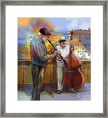 Street Musicians In Prague In The Czech Republic 01 Framed Print by Miki De Goodaboom