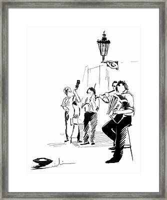 Street Musicians In Prague In The Czech Republic 02 Framed Print by Miki De Goodaboom