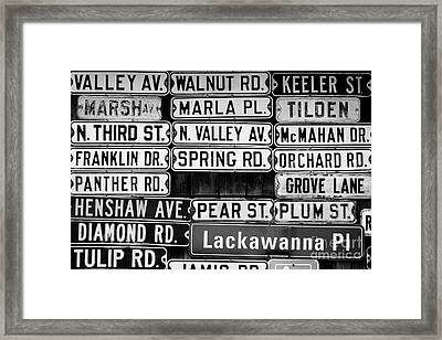 Framed Print featuring the photograph Street Names by Colleen Kammerer