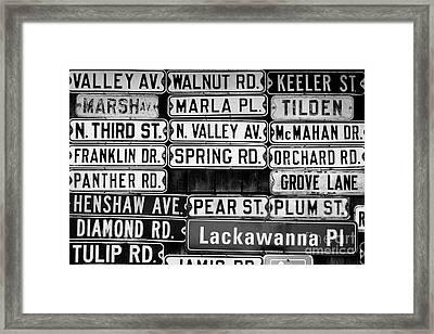 Street Names Framed Print by Colleen Kammerer