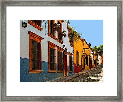 Street Of The Blue House Framed Print