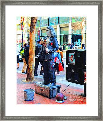 Street Performer 2 . Photoart Framed Print by Wingsdomain Art and Photography