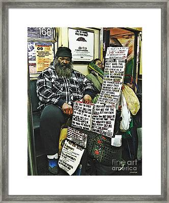 Street Preacher On The A Train Framed Print by Sarah Loft