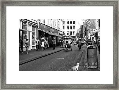 Street Riding In Amsterdam Mono Framed Print by John Rizzuto
