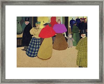 Street Scene Framed Print by Felix Edouard Vallotton