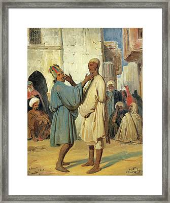 Street Scene Framed Print by Francois-Auguste Biard