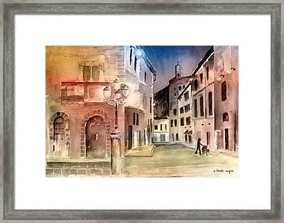 Street Scene In Italy Framed Print by Arline Wagner