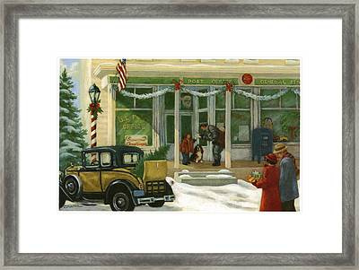 Street Scene In Small Town With People Framed Print by Gillham Studios