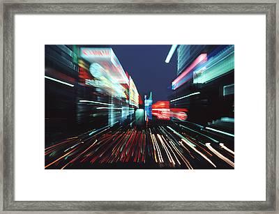Street Scene In Tokyos Ginza District Framed Print