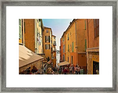 Street Scene In Villefranche Framed Print by Steven Sparks