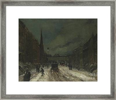 Street Scene With Snow  57th Street, Nyc Framed Print
