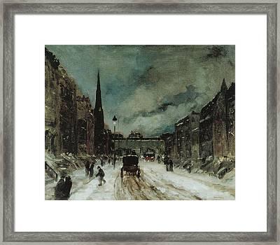 Street Scene With Snow New York City Framed Print by Robert Henri