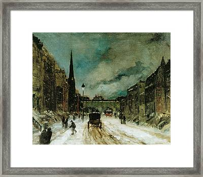 Street Scene With Snow Framed Print by Robert Henri
