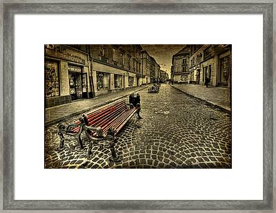 Street Seat Framed Print by Evelina Kremsdorf