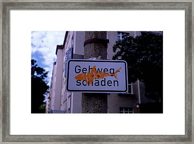 Street Sign With Graffiti Framed Print