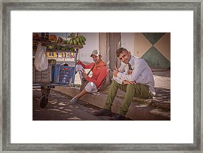 Framed Print featuring the photograph Street Vendors In Cienfuegos Cuba by Joan Carroll