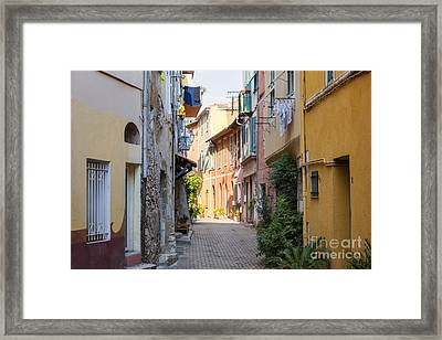 Street With Sunshine In Villefranche-sur-mer Framed Print