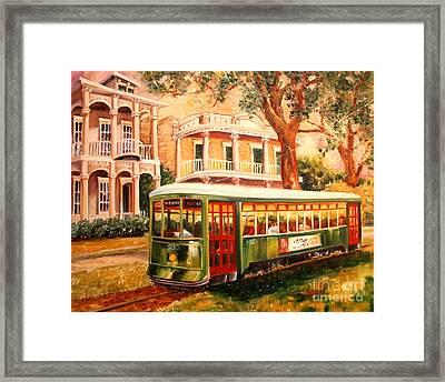 Streetcar In The Garden District Framed Print by Diane Millsap