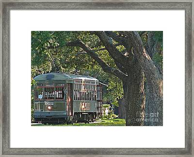Streetcar Under The Oak Trees Framed Print by Jeanne  Woods