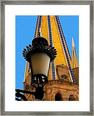 Streetlamp In Guadalajara Framed Print by Mexicolors Art Photography