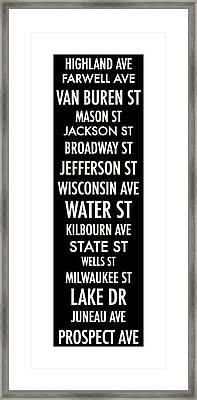 Streets Of Milwaukee Framed Print