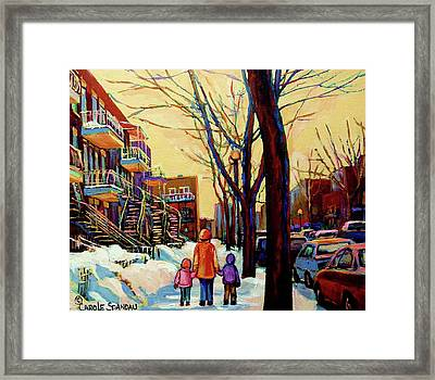 Streets Of Montreal Rue Debullion  Winter In The Plateau Framed Print