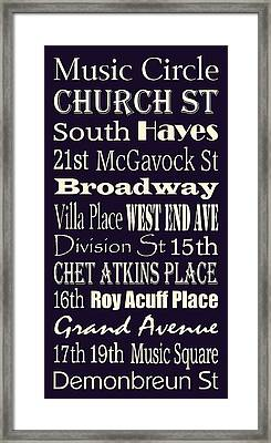 Streets Of Nashville's Music Row Framed Print by Trudy Clementine