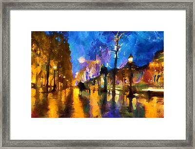 Streets Of Paris By Night Abstract Framed Print by Georgiana Romanovna