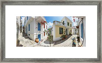 Streets Of Skopelos Framed Print by Evgeni Dinev