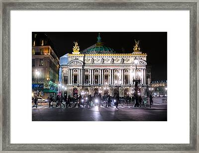 Streets Of The Opera De Paris At Night Framed Print by Mark E Tisdale