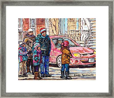 Streets Of Verdun Beautiful Winter Afternoon Family Stroll Canadian Painting Carole Spandau Artist   Framed Print by Carole Spandau