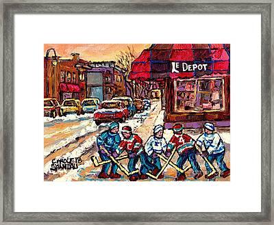 Streets Of Verdun Montreal Hockey Practice Le Depot Rue De L'egise  Canadian Painting Carole Spandau Framed Print by Carole Spandau