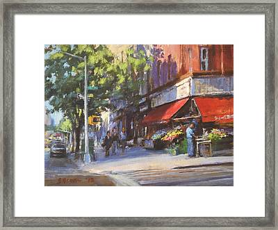 Streetscape With Red Awning - 82nd Street Market Framed Print