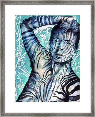 Strength In Blue Stripes, Zebra Boy #6 Framed Print by Rene Capone