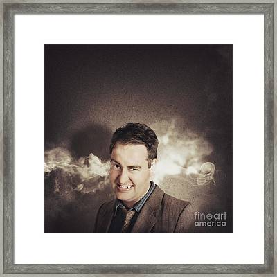 Stressed Businessman With Steaming Hot Headache Framed Print by Jorgo Photography - Wall Art Gallery