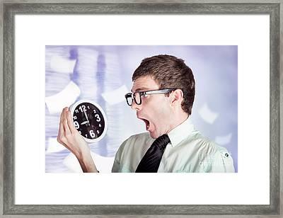 Stressed Male Office Worker Holding Overtime Clock Framed Print