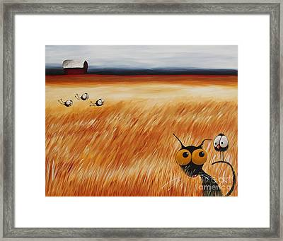 Stressie Cat And Crows In The Hay Fields Framed Print
