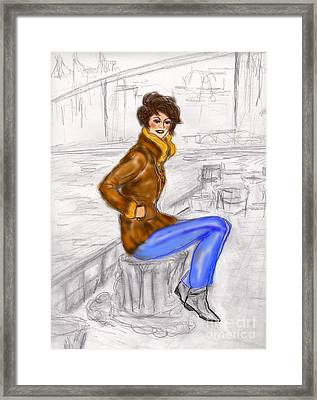 Framed Print featuring the drawing Strike A Pose by Desline Vitto