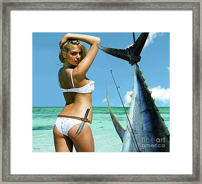 Strike A Pose,' Kate Upton, Trophy Yellowfin Tuna, 50 Lb Test Line, Mako Point, Fl Framed Print by Thomas Pollart