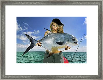Strike A Pose,' Kate Upton, Trophy Permit Fish, Key West, Fl, 20lb Test Line Framed Print
