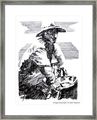Framed Print featuring the drawing Striking It Rich by Seth Weaver