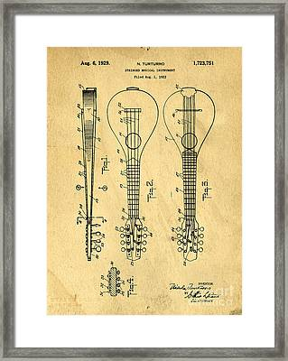 Stringed Musicial Instrument Patent Art Blueprint Drawing Framed Print by Edward Fielding