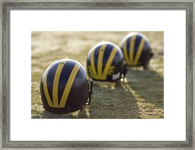 Striped Helmets On A Yard Line Framed Print