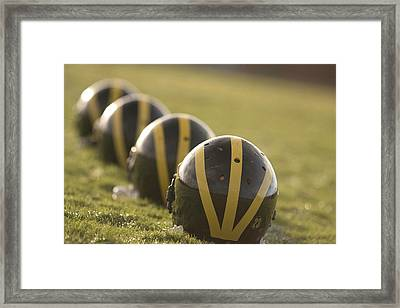 Striped Helmets On Yard Line Framed Print