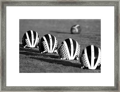 Striped Helmets With Football Framed Print