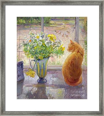 Striped Jug With Spring Flowers Framed Print