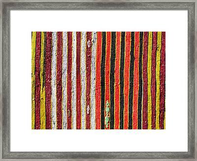 Striped Textile Framed Print by Tom Gowanlock