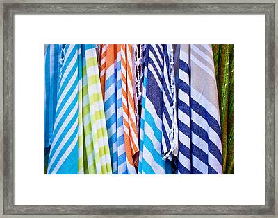 Striped Textiles Framed Print
